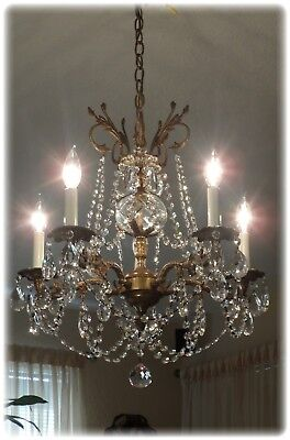 Vintage Brass Chandelier With Crystal Prism...Ready to Hang it