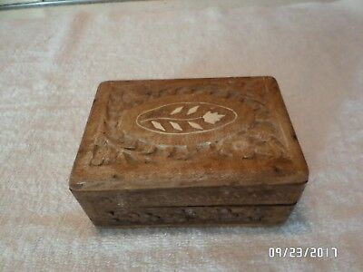 Antique Old Collectible Carved Beautiful Flower Design Wooden jewelry Box