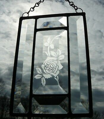 Small Beveled Clear Stained Glass Rose Window Panel Artwork