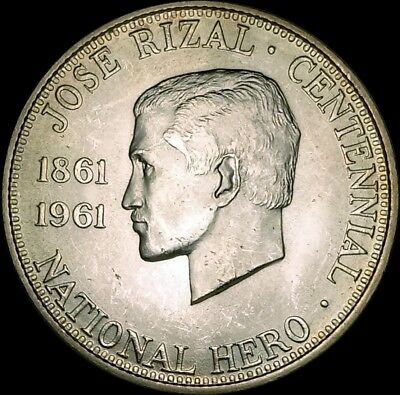 1961 Philippines 1/2 Peso Brilliant Uncirculated Silver Coin Dr. Jose Rial