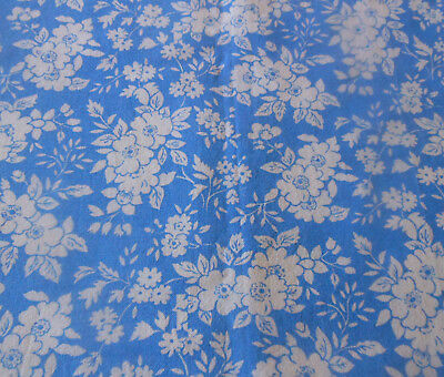 Vintage French Floral Apple Blossom Corn Flower Blue White Cotton Fabric ~