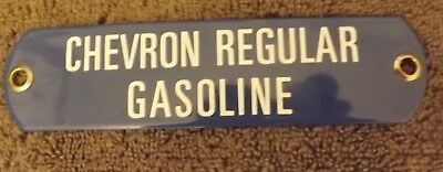 Vintage Porcelain Chevron Regular Gasoline Tag Sign Standard Oil
