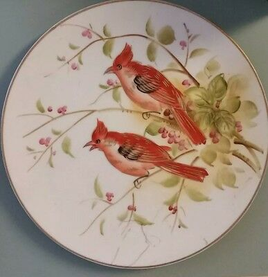 Vintage Lefton China Red Birds Plate #sl8130 Accented & Trimmed In Gold