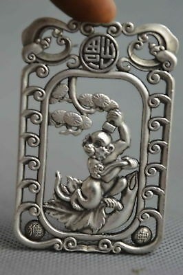 China Collectable Handwork Old Miao Silver Carve Monkey Wealthy Lucky Pendant