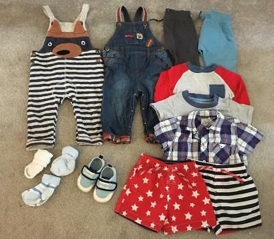 12 x baby boy clothing bundle to fit 9-12 month old - dungarees/Swim Shorts/Shir