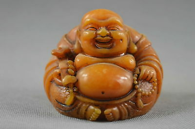 Collectable Handwork Shoushan Stone Carve Ancient Exorcism Buddha Noble Statue