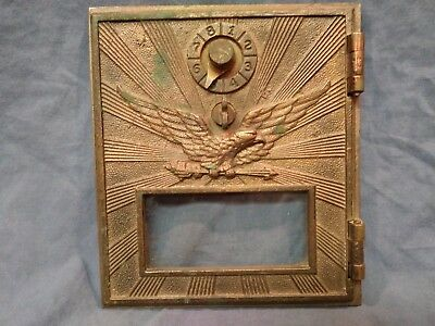 Vintage Brass War Eagle Postal Box Door with Combination