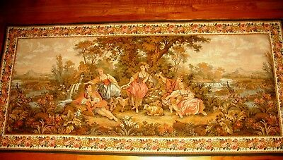 Vintage French Goblin Tapestry Wall-Hanging  - Romantic Country Scene