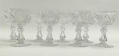 Antique set 8 ABP Cut Crystal Dorflinger Hawkes Strawberry Fan Wine Glasses