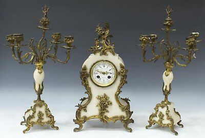 19Th C French Marti Paris Marble Antique Mantel Clock & Candelabra Graniture Set