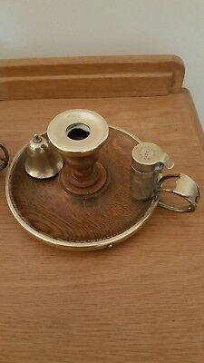 Pair of antique candle holder with snuffer and match holder / strike.