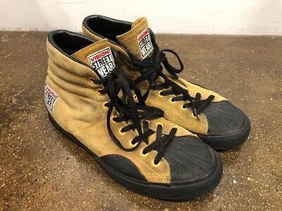 Vintage 80s Vision Street Wear Mustard Yellow Shoes Retro Korea 10 BMX SK8 Hi To