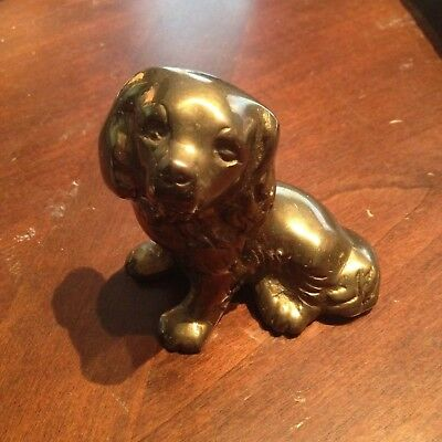 Vintage Small Solid Brass Spaniel Dog Figure