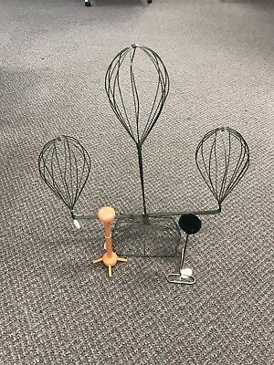 Vintage Triple Hat Display Stand - Adjustable Wire & 2 Small Displays