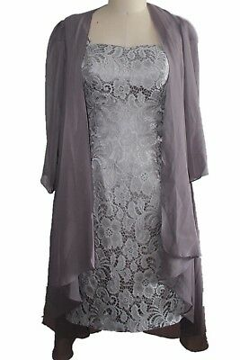 Silver Lace Short Evening Dress Wedding Mother Of Bridal Dress SZ 14 With Jacket