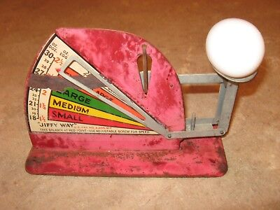 Antique Vintage Early Jiffy Way Farm Kitchen Egg Scale Original Red paint