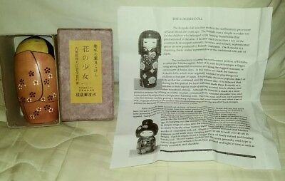 """Japanese KOKESHI Doll Wood Signed Red Stamp 5"""" Peach,Black,White flowers boxed"""