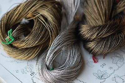 3 Skeins Antique Metal Threads Old Gold Silver Bronze Vintage Embroidery Thread