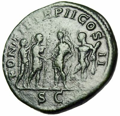 """Geta AE Sestertius """"Clasping Hands, Crowned Apollo & Hercules"""" RIC 155a Ext Rare"""