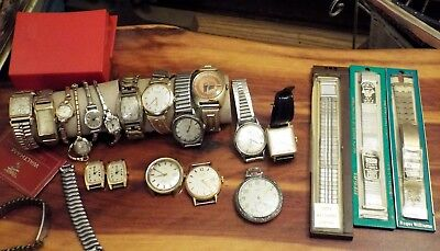Lot of 18 men's and women's vintage watches, watch bands Bulova, Elgin,