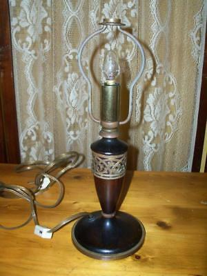 Antique Signed Pairpoint Lamp Base - Rare Wood w/ Brass Trim - Arts & Crafts ?