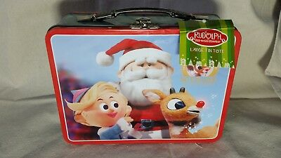 Rudolph Large Tin Tote Lunch Box