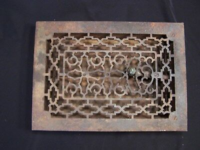 "Ornate antique cast iron floor grate, register,vent w/ louvers approx. 10"" X 14"""