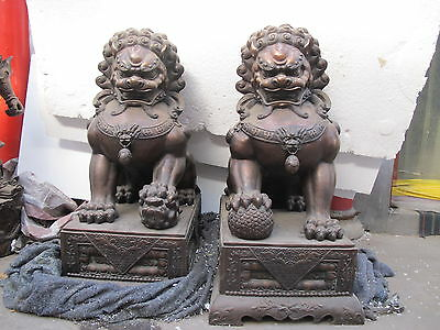 Big Chinese Bronze Copper Guardion Evil Palace Door Foo Fu Dog Lion Pair