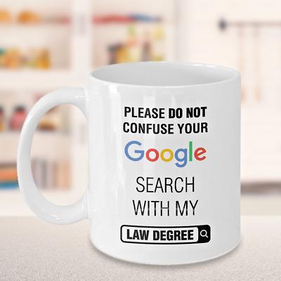 Law Degree Gift Coffee Mug Funny For Christmas Birthday Lawyers Judges