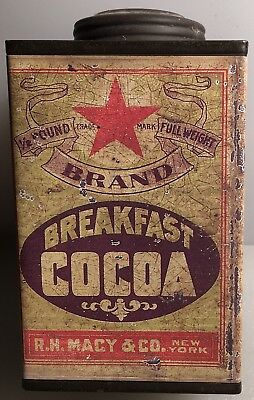Red Star Brand Breakfast Cocoa Tin -R. H. Macy Co. New York