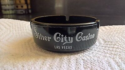 Silver City Casino Las Vegas Boulevard VTG Round Black Glass Ashtray FREE SHIP