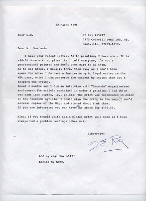 RARE - Assassin James Earl Ray typed letter signed from 1996