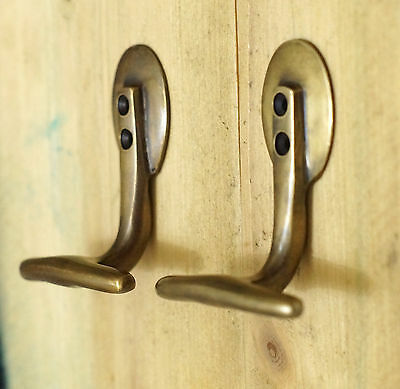 "3.18"" Lot of 2 pcs Hook Vintage Horizontal Brass Strong Wall Mount Coat Hat HOOK"