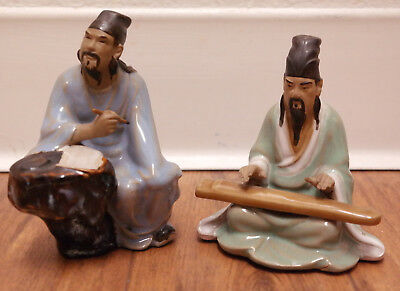 Vintage Shiwan Clay Chinese Mudmen Scribe & Musician - Artistic Ceramic Factory