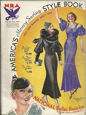 Vintage 1933-34 Fall & Winter NATIONAL Bellas Hess Catalog AMERICA'S Style Book