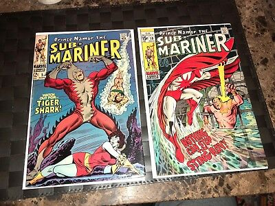 Sub-Mariner #5 & 19 (Sep 1968, Marvel) 1st Tigershark And Sting Ray
