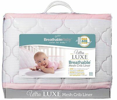 BreathableBaby Breathable Ultra Luxe Mesh Baby Nursery Crib Liner Pink & White