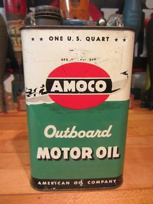 Vintage AMOCO 1 QT. OUTBOARD OIL CAN tin oil gas station sign