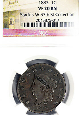1832 VF20 Matron Coronet Head Large Cent 1c graded by NGC as Very Fine, Stack's!