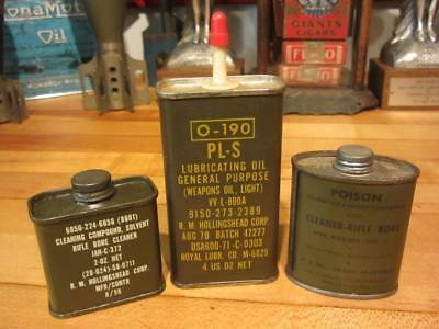 Vintage LOT OF 3 MILITARY HOUSEHOLD HANDY OIL & RIFLE BORE CANS gas station sign