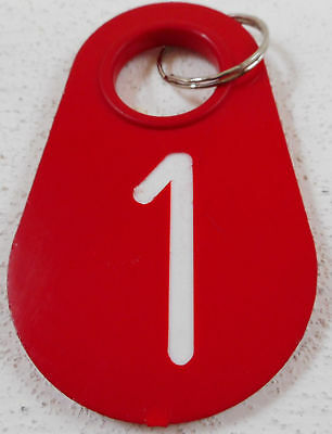 Vintage Plastic Hotel Room Key Fob Chain Red # 1 Unknown Hotel
