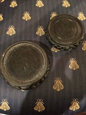 "2 black asian carved wood lamp bases vase stands 3 1/2"" and 4"""