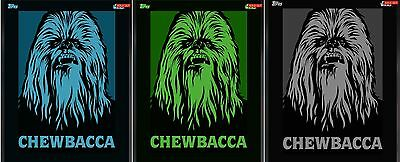 Topps Star Wars Card Trader CHEWBACCA Icons (3) INSERT LOT Green Blue Gray RARE