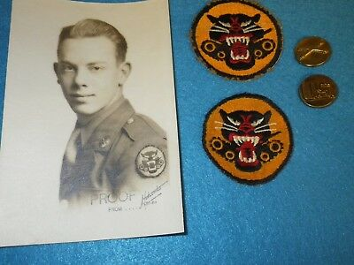 Original WWII US Army Tank Destroyer Insignia & Photo Grouping - 5 Items