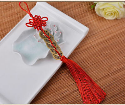 Chinese Folk Handmade Feng Shui 5 Coins Chinese Knot Pendant