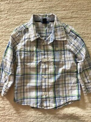 EUC BABY GAP White Green Blue Plaid Button Front Long Sleeve Top Shirt Size 3T