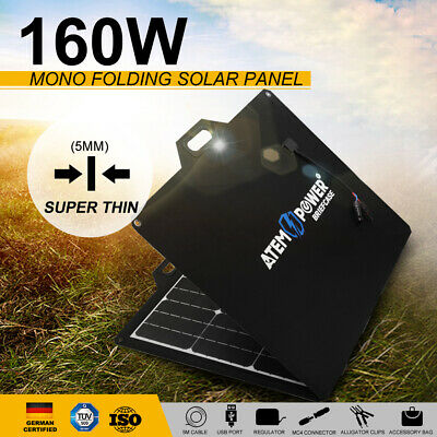 200W Folding Solar Panel Blanket Kit Black Silicon DC 12V & Regulator & Cables