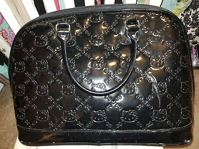 HELLO KITTY Loungefly Embossed Black Patent Dome Satchel Weekender Travel Bag