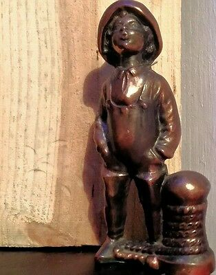 "Antique Metal Fisher Boy Statue  app. 7"" tall Vintage Unique Rare Nautical"