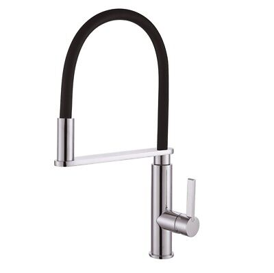 RIT Pull Out Pull Down Goose Neck Black and Chrome Kitchen Mixer Laundry Tap
